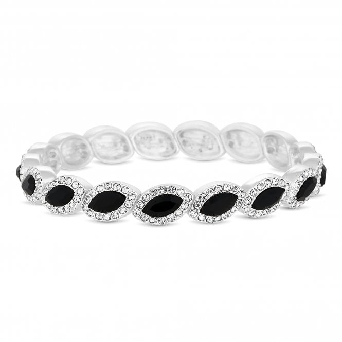 Silver Black Crystal Navette Stretch Bracelet