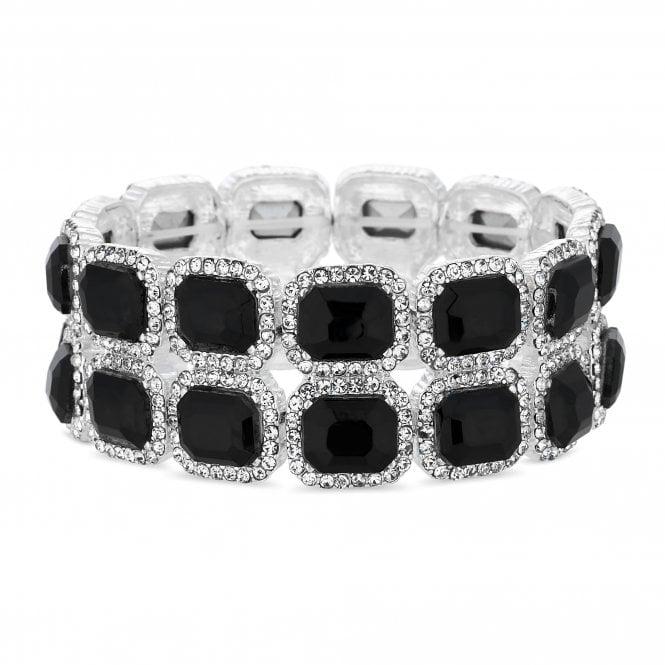 Silver Black Crystal Square Stretch Bracelet