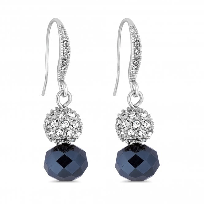 Silver Blue Bead And Pave Orb Drop Earring
