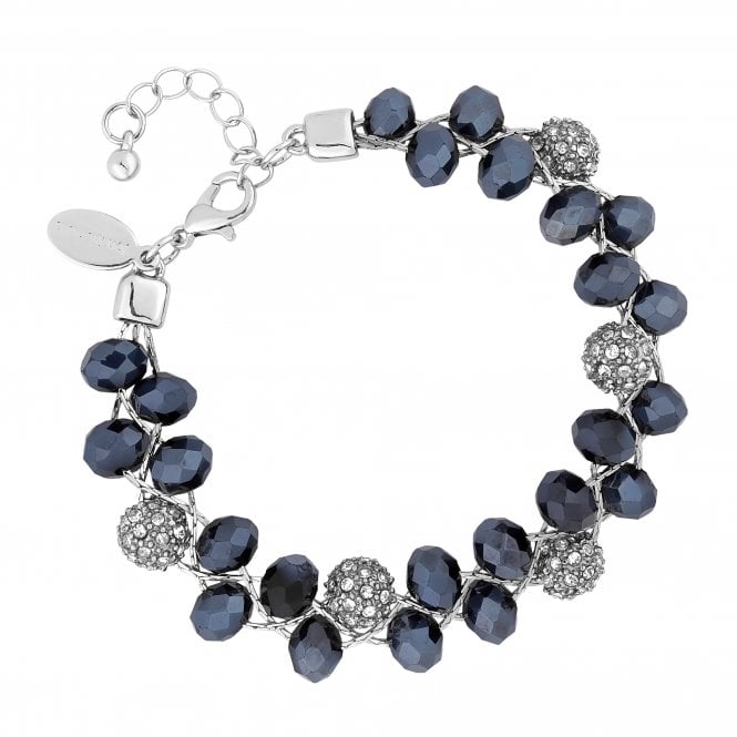 Silver Blue Bead And Pave Orb Twist Bracelet