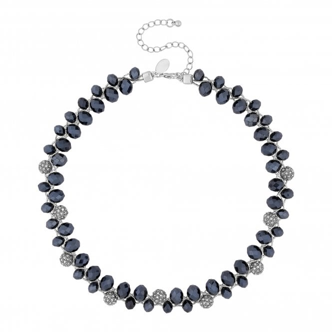 Silver Blue Bead And Pave Orb Twist Necklace