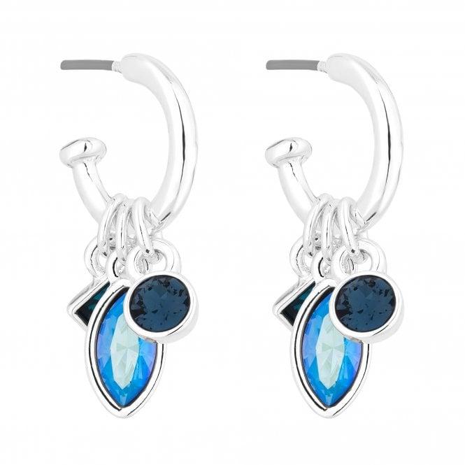Silver Blue Crystal Charm Hoop Earring Embellished With Swarovski Crystals