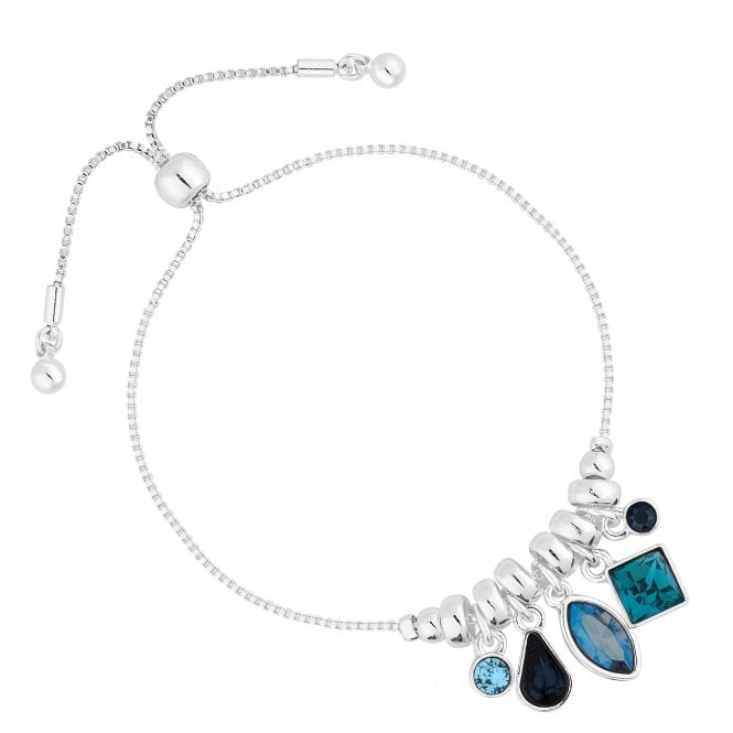 Silver Blue Crystal Charm Toggle Bracelet Embellished With Swarovski Crystals