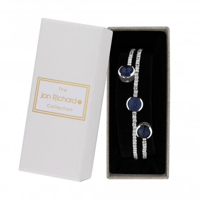 Silver Blue Crystal Diamante Twist Bangle