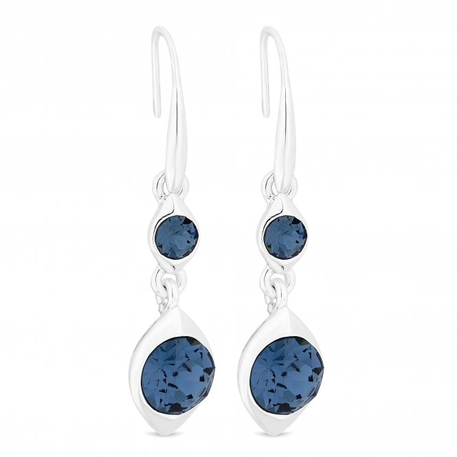 Silver Blue Crystal Double Drop Earring Embellished With Swarovski Crystals