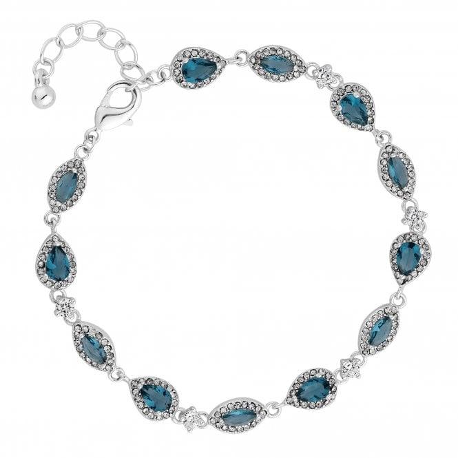 Silver Blue Crystal Halo Peardrop Bracelet