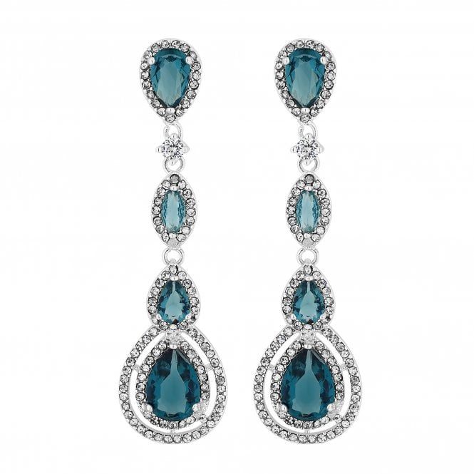 Silver Blue Crystal Halo Peardrop Drop Earring
