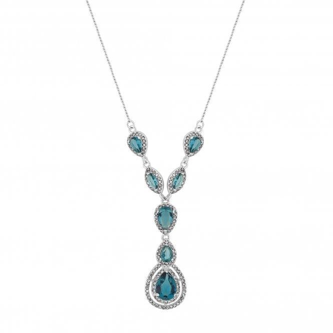 Silver Blue Crystal Halo Peardrop Lariat Necklace