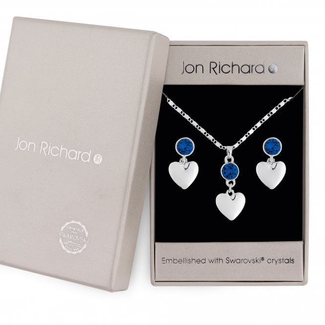 Silver Blue Crystal Heart Jewellery Set Embellished With Swarovski Crystals