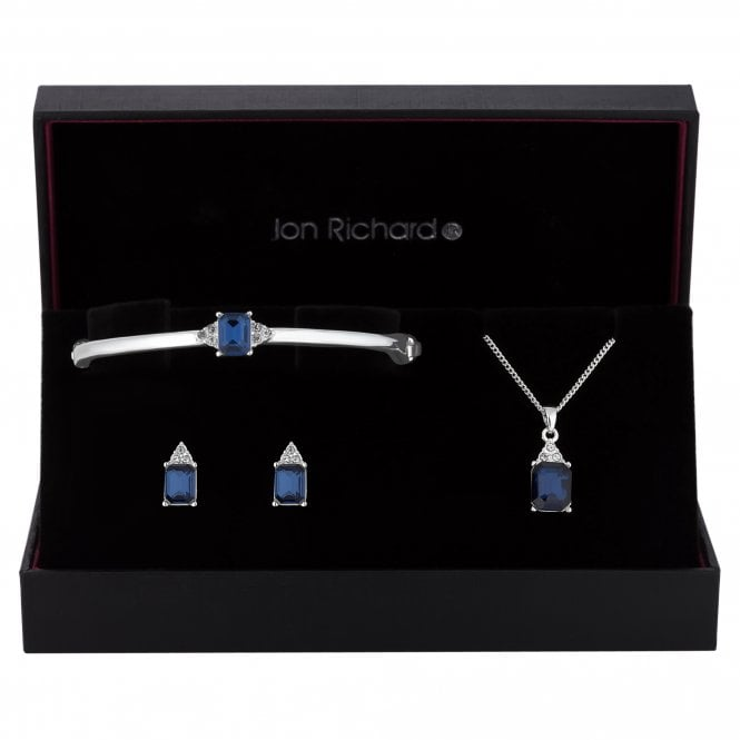 Silver Blue Crystal Square Jewellery Set