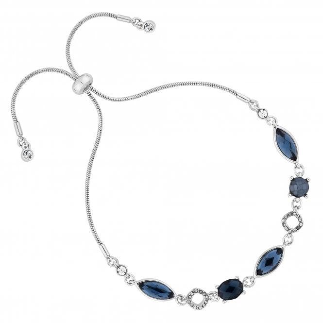 Silver Blue Crystal Toggle Bracelet