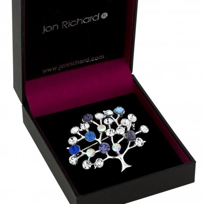 Silver Blue Crystal Tree Of Life Brooch
