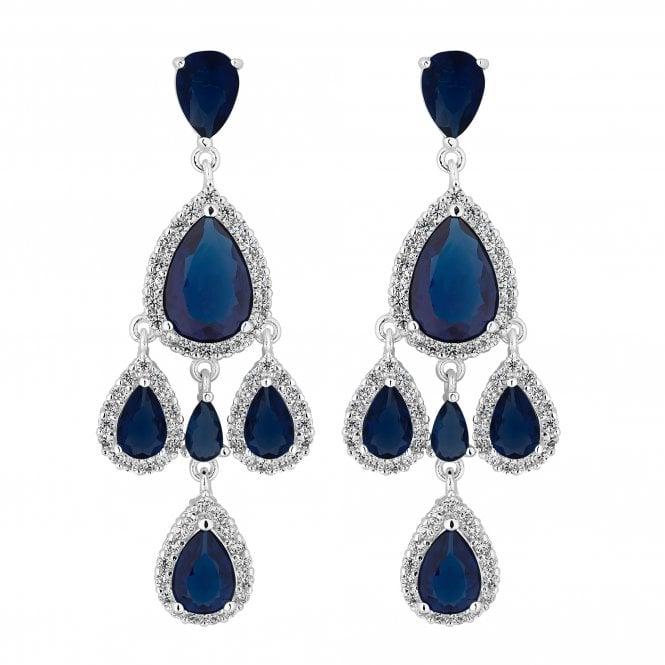 Silver Blue Cubic Zirconia Peardrop Statement Earring