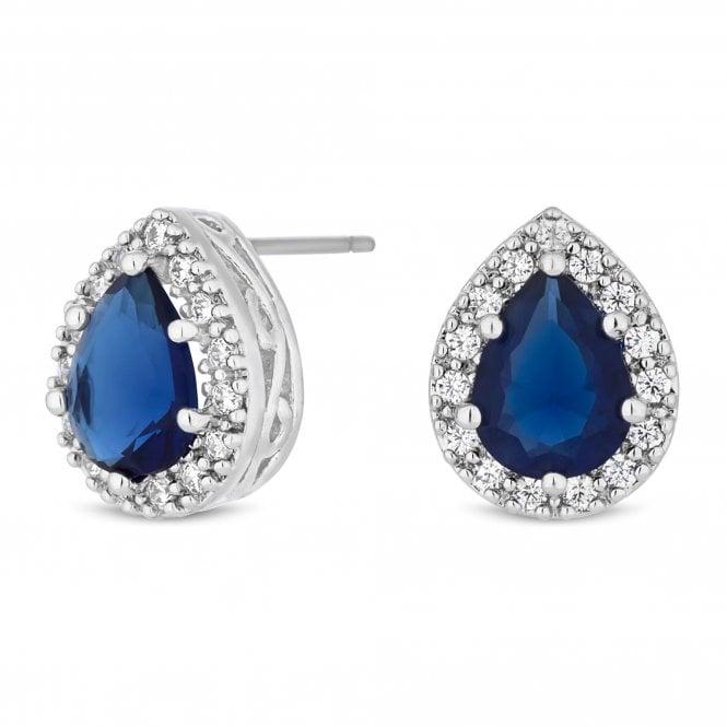 Silver Blue Cubic Zirconia Peardrop Stud Earring