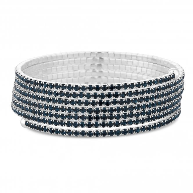 Silver Blue Diamante Twist Bracelet