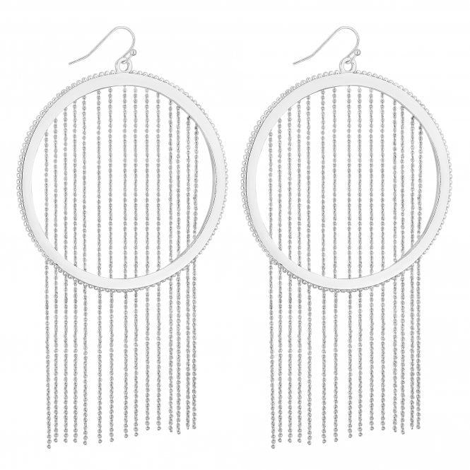 Silver Chain Fringed Hoop Drop Earring