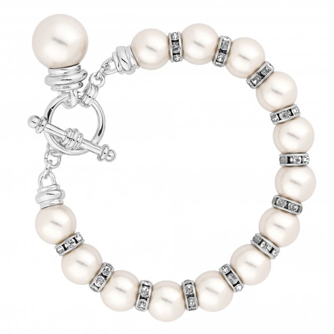 Silver Cream Pearl Charm Bracelet