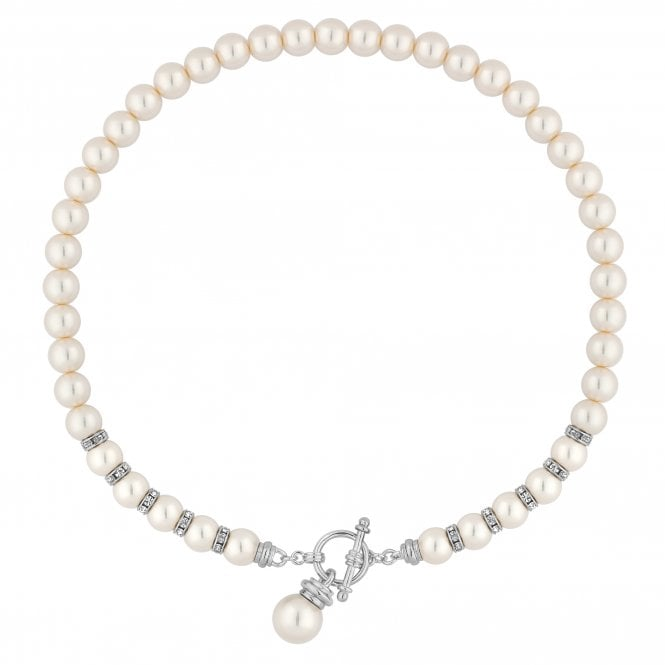 Silver Cream Pearl Charm Necklace