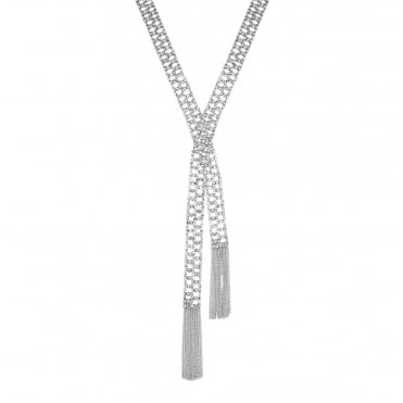 Silver cross over tassel necklace