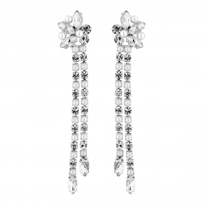 Silver Crystal And Pearl Cluster Drop Earring