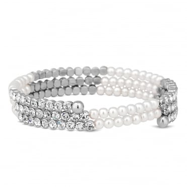 Silver crystal and pearl coil twist bracelet