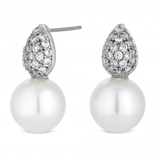 Silver Crystal And Pearl Drop Stud Earring