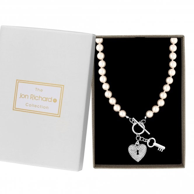 Silver Crystal And Pearl Key To My Heart Necklace