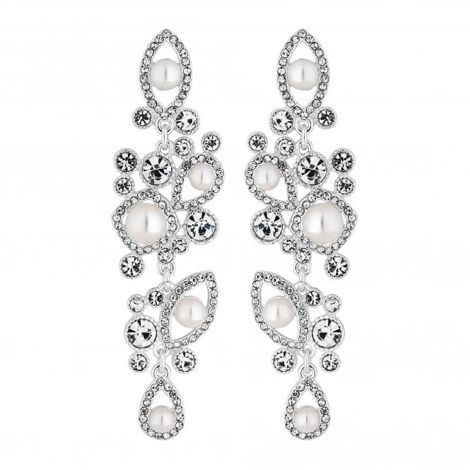 Silver Crystal And Pearl Ornate Drop Earring