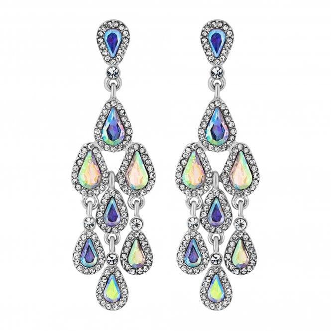 Silver Crystal Chandelier Drop Earring