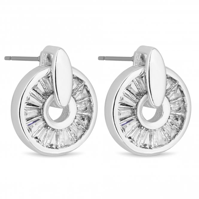 Silver Crystal Circle Drop Stud Earring