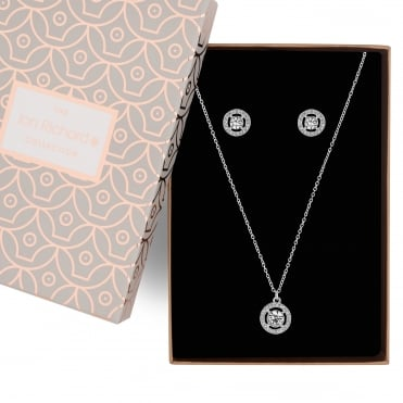 Silver crystal clara necklace and earring set