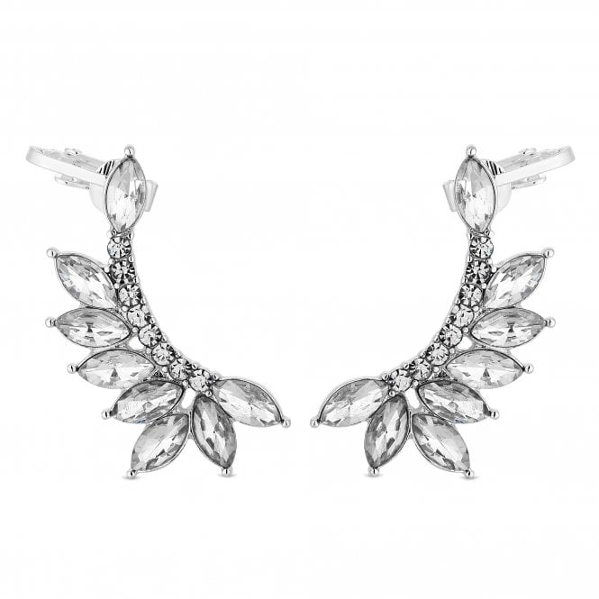 Silver Crystal Cluster Ear Cuff Set