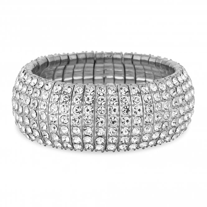 Silver Crystal Curved Stretch Bracelet