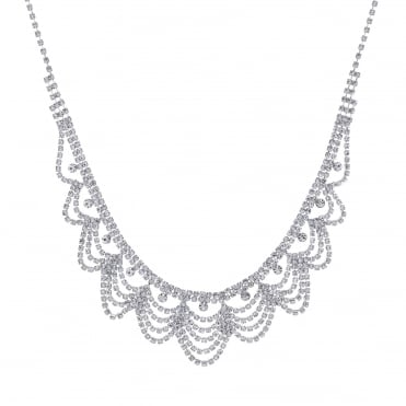 Silver crystal diamante bib necklace