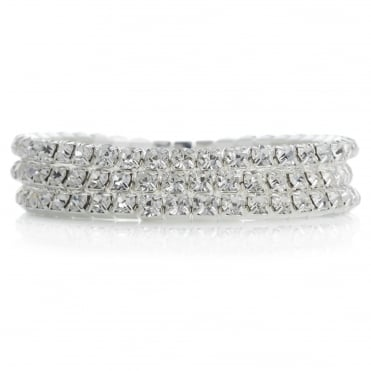 Silver crystal diamante bracelet set