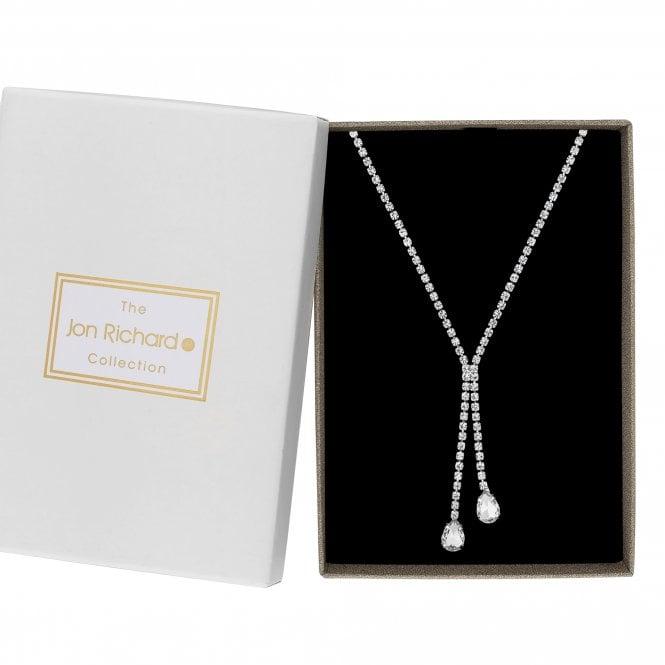 Silver Crystal Diamante Lariat Necklace