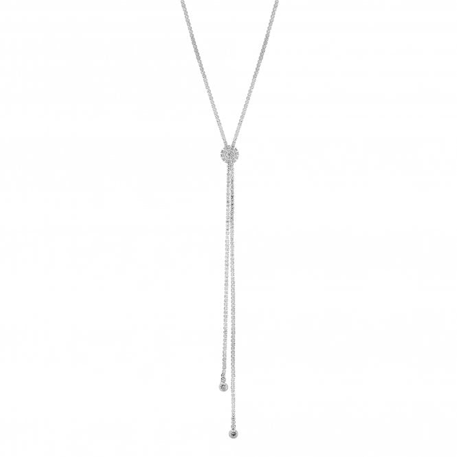 Silver Crystal Diamante Lariat Necklace