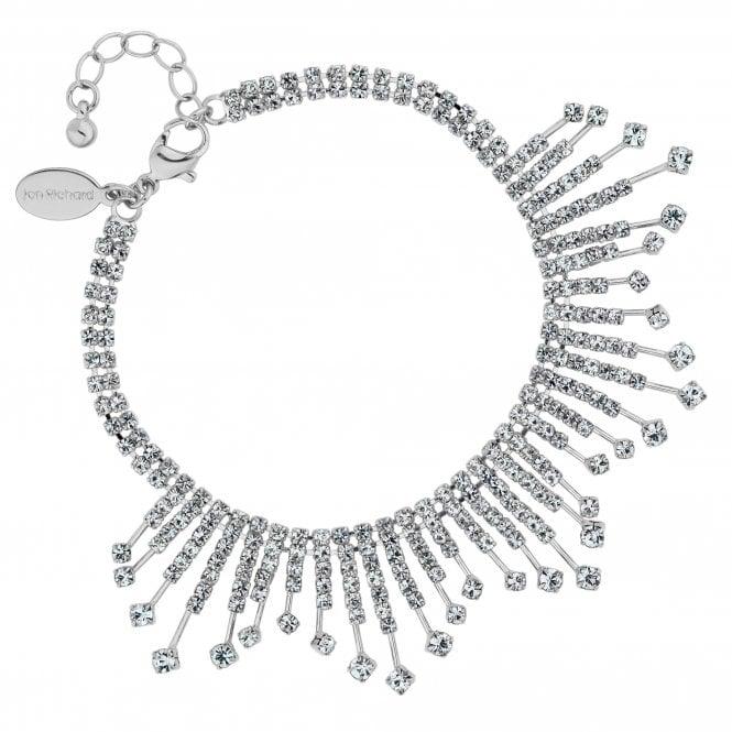Silver Crystal Diamante Stick Statement Bracelet
