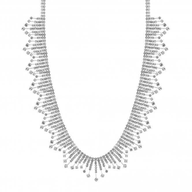 Silver Crystal Diamante Stick Statement Necklace