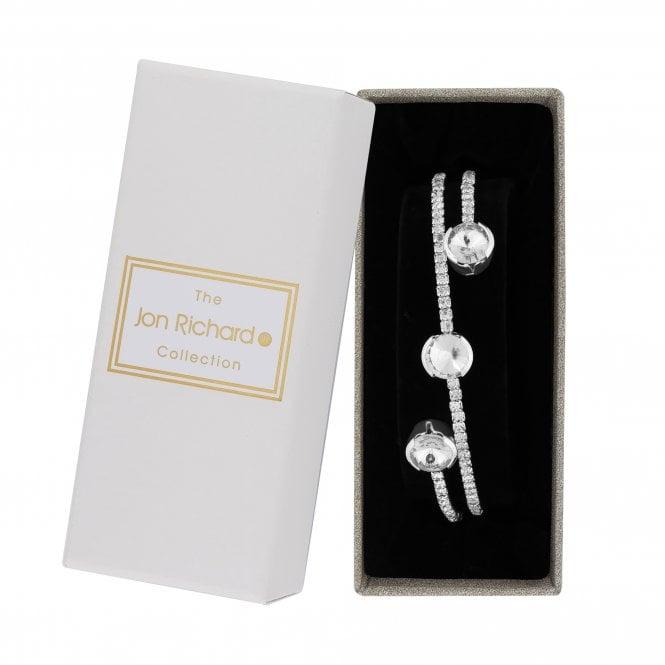 Silver Crystal Diamante Twist Bangle