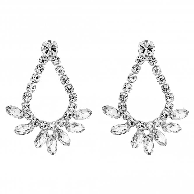 Silver Crystal Diamante Wave Drop Earring