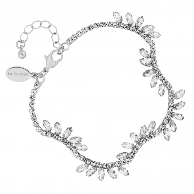Silver Crystal Diamante Wave Statement Bracelet