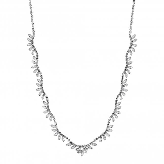 Silver Crystal Diamante Wave Statement Necklace