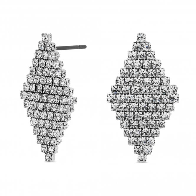Silver Crystal Diamond Shape Drop Earring
