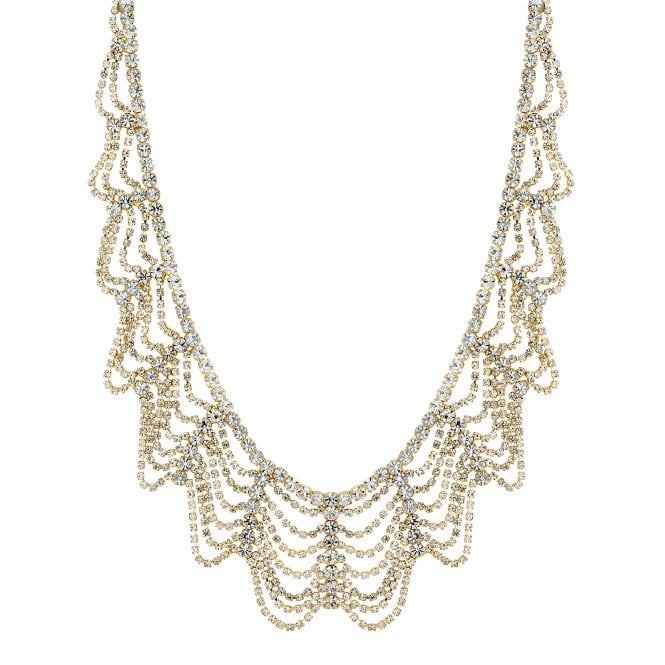 Silver Crystal Draped Collar Necklace