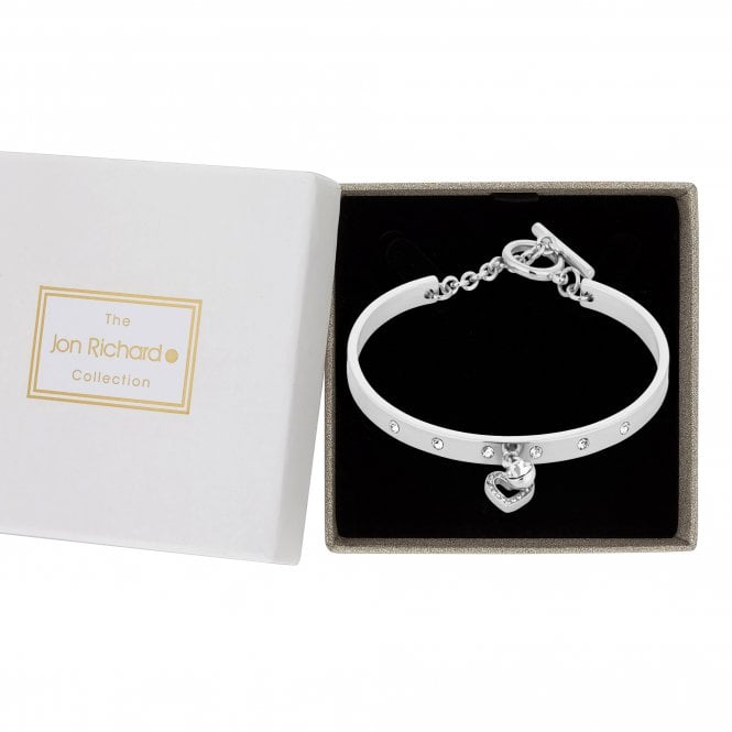 Silver Crystal Embellished Heart Charm Bangle