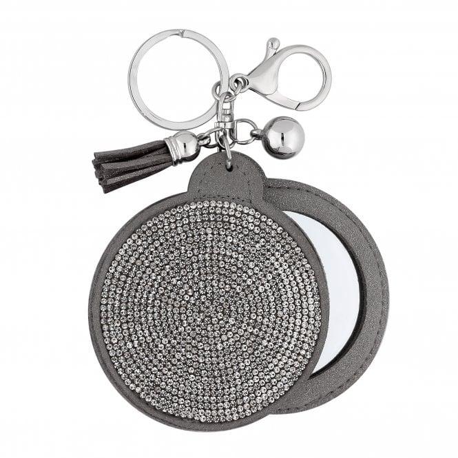 Silver Crystal Embellished Mirror Keyring