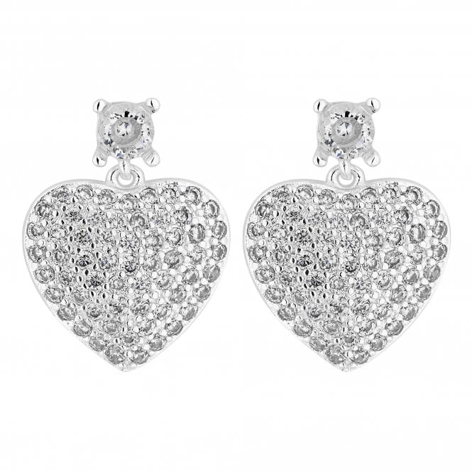 Silver Crystal Encrusted Heart Drop Earring