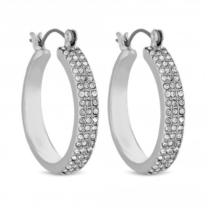 Silver Crystal Encrusted Hoop Earring