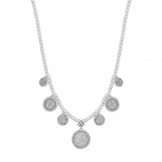 Silver Crystal Filigree Disc Necklace